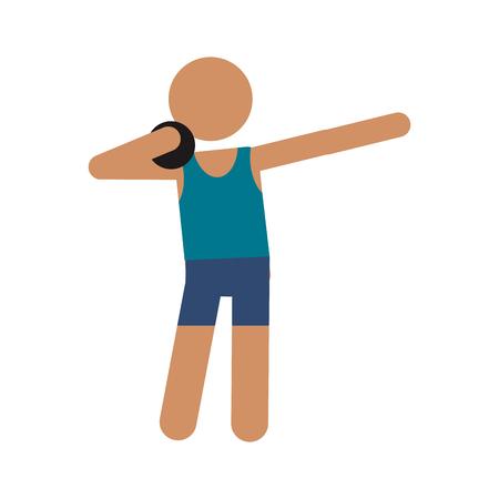 atletismo lanzamiento de peso de pelota ilustración vectorial eps 10