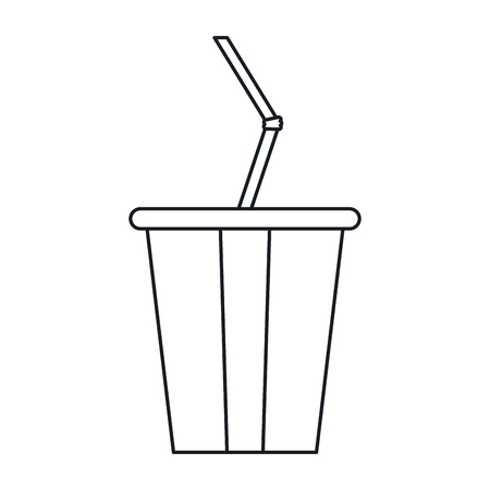 plastic straw: plastic cup soda with straw drink american football outline vector illustration eps 10