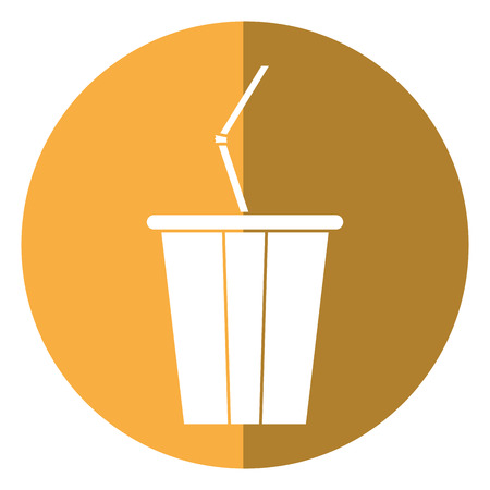 carbonated beverage: plastic cup soda with straw drink american football shadow vector illustration eps 10