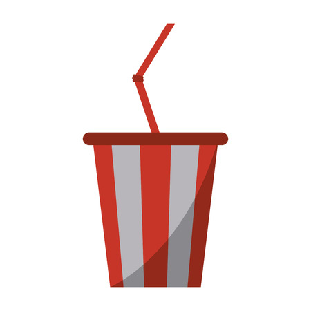 plastic straw: plastic cup soda with straw drink american football vector illustration eps 10