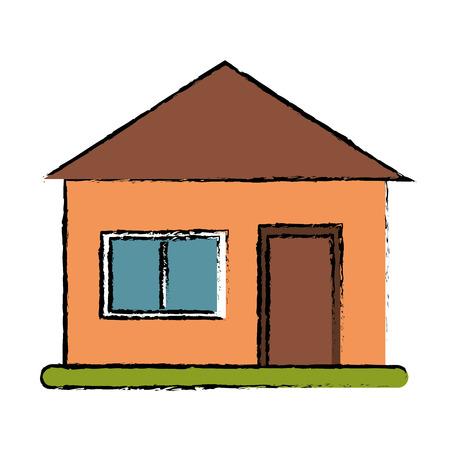 suburban: drawing house suburban architecture green grass vector illustration eps 10