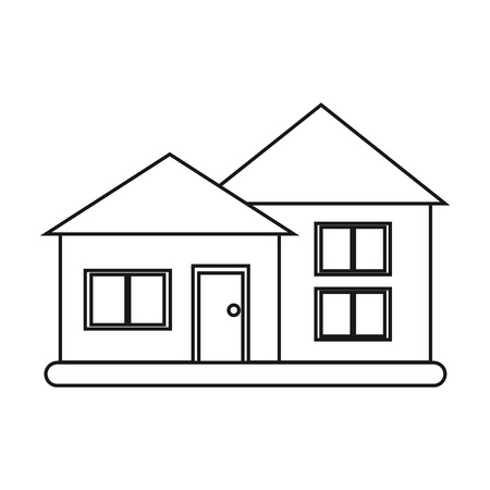 suburban: house suburban architecture green grass outline vector illustration eps 10