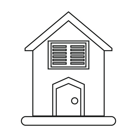 close icon: house blinds windows outline vector illustration eps 10
