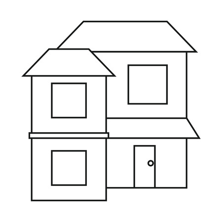 housing project: home two floor out windows brown roof outline vector illustration eps 10
