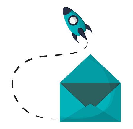 email envelope open rocket startup vector illustration eps 10 Illustration