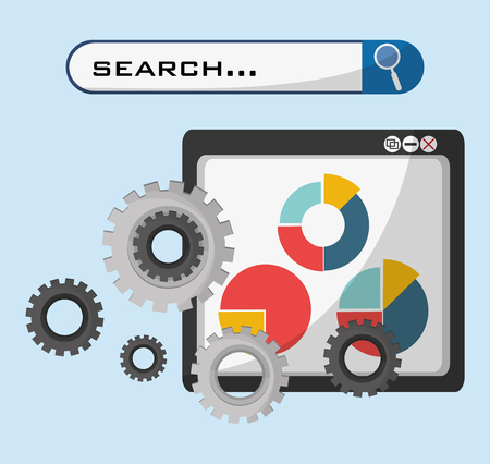 technolgy: web page technolgy search gear graph economy vector illustration eps 10