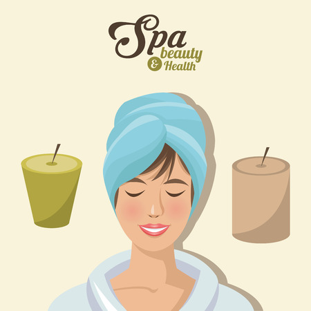 spa beauty and health woman smile towel head with candles