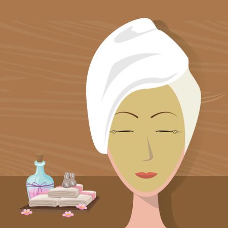 natural drying: spa woman towel wear facial mask care