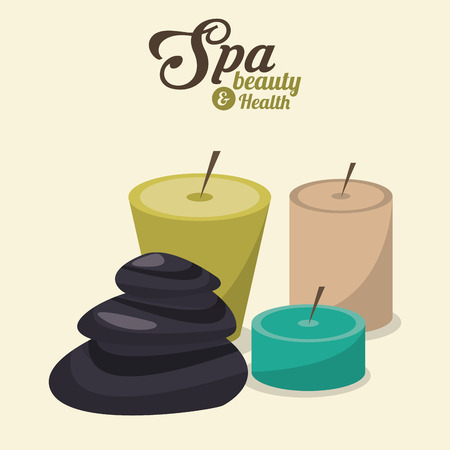 hot stone massage: spa beauty and health aroma candles and hot stones vector illustration Illustration