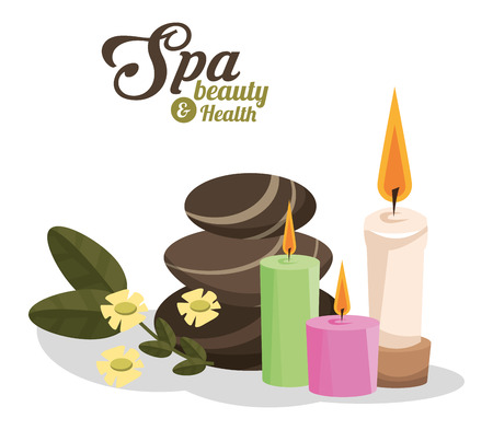 spa beauty and health hot stones scented candles vector illustration Illustration