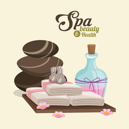 flower bath: spa beauty and health hot stone compress lotion pink flowers vector illustration