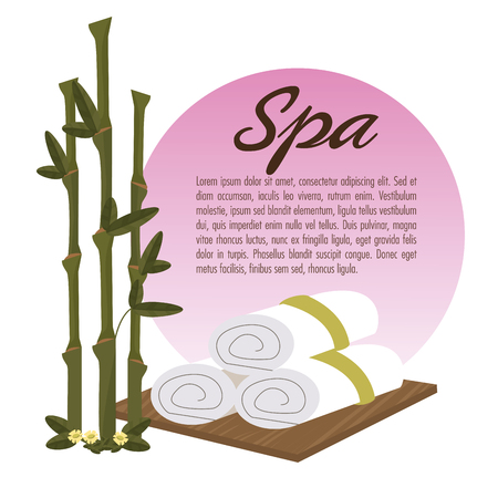 flower bath: spa beauty towel over wooden bamboo