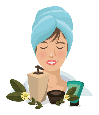 spa woman towel products facial body care Ilustrace