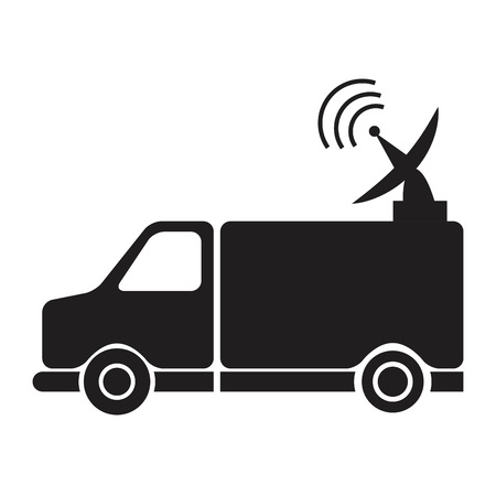 news van: news van with antenna information communication