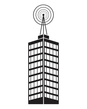 telephone mast: building telecommunication mast television Illustration