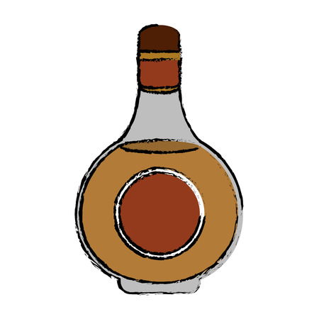 alcochol: drawing cognac bottle alcochol drink style vector illustration eps 10