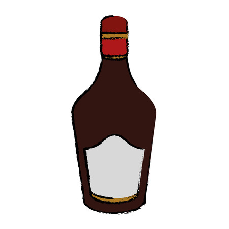 rum: drawing bottle cream whiskey liqueur icon drink vector illustration eps 10 Illustration