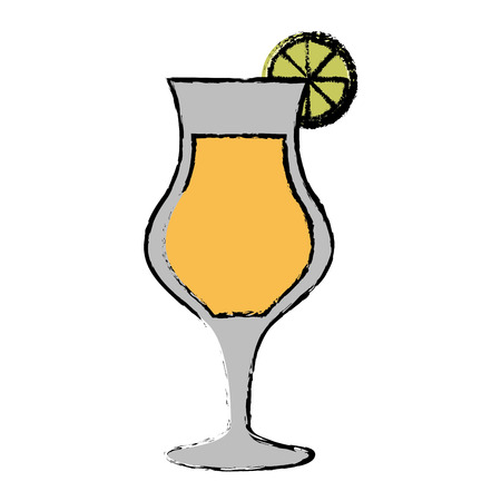 alcoholic beverage: drawing cocktail glass cup lime alcoholic beverage vector illustration eps 10 Illustration