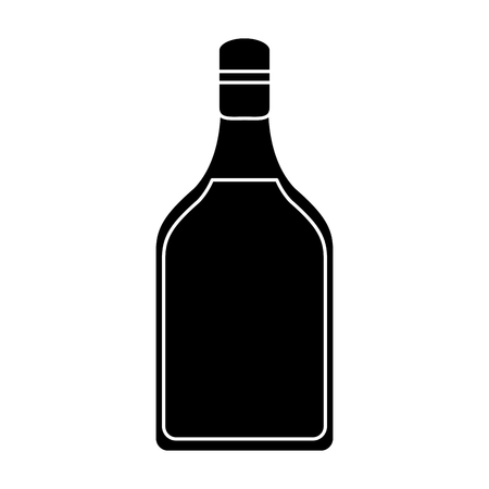 alcoholic beverage: silhouette tequila bottle alcoholic beverage vector illustration eps 10 Illustration