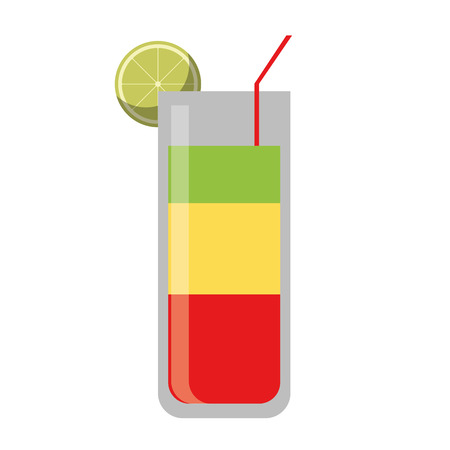 cocktail glass cup party lemon straw vector illustration eps 10