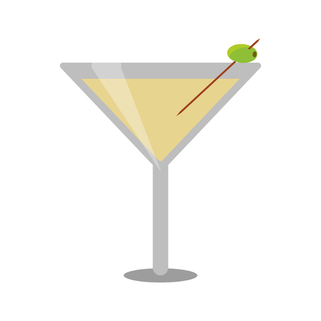 glass cocktail martini with olive vector illustration eps 10 Illustration