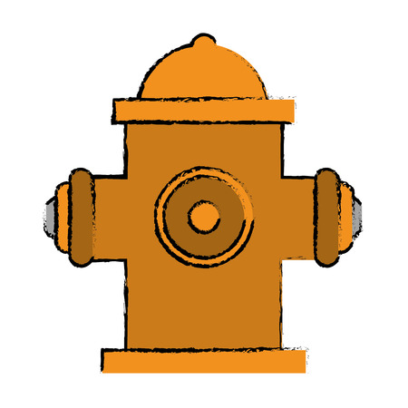 drawing yellow fire hydrant fire fighting vector illustration eps 10