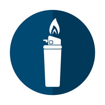 gas lighter: blue gas lighter flame icon shadow vector illustration eps 10 Illustration