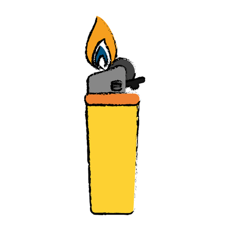 gas lighter: drawing yellow gas lighter flame icon vector illustration eps 10 Illustration
