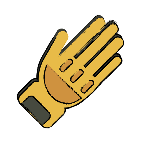 drawing yellow glove protection fireman elements vector illustration eps 10 Illustration