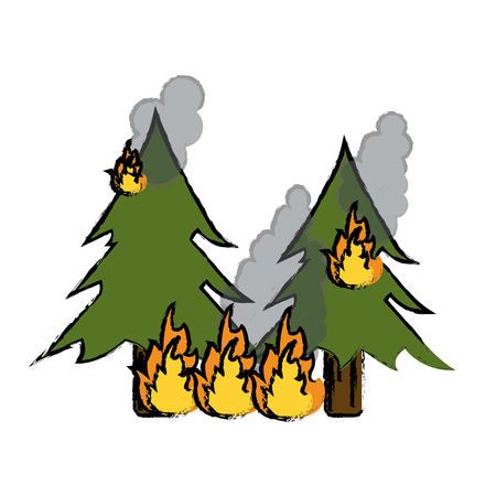 drawing wildfire destroys pines smock vector illustration eps 10 Illustration