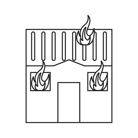 house on fire: house fire bursts windows roof line vector illustration eps 10