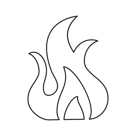 fire flame burn hot design line vector illustration eps 10