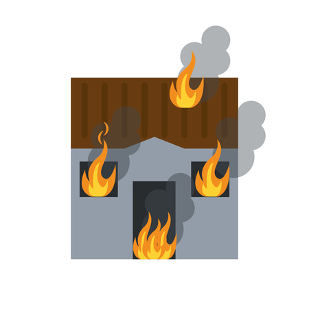 house on fire: house fire bursts windows roof vector illustration eps 10