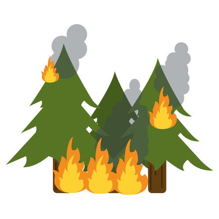 wildfire: wildfire destroys pines smock vector illustration eps 10