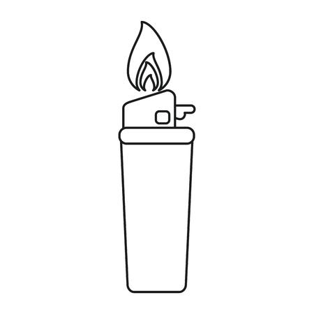 gas lighter: gas lighter flame icon line vector illustration eps 10 Illustration