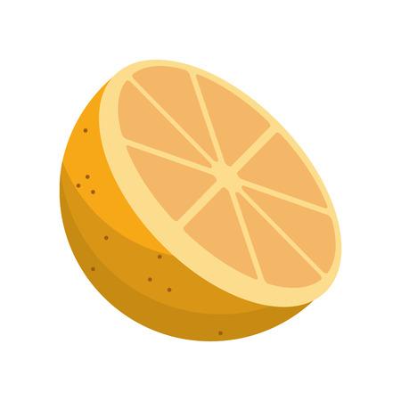 cartoon sliced orange fruit icon vector illustration Illustration