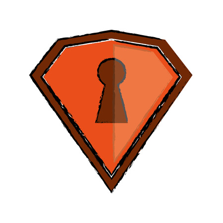 drawing orange shield protection security technologyvector illustration eps 10
