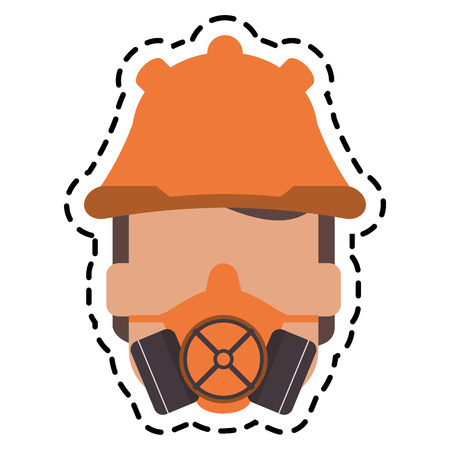 flammable: Mask and helmet icon. Industrial security safety and protection theme. Isolated design. Vector illustration