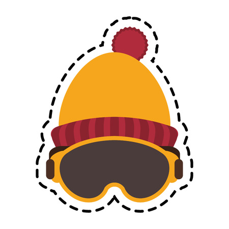 warm cloth: Hat and glasses icon. Winter cloth warm fashion and cold theme. Isolated design. Vector illustration Illustration