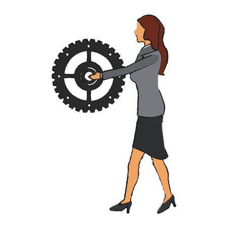 associates: Businesswoman and gear icon. Management corporate job and leader theme. Isolated design. Vector illustration