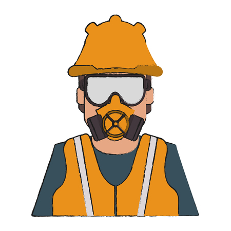 Man with safety cloth icon. Industrial security and protection theme. Isolated design. Vector illustration Illustration