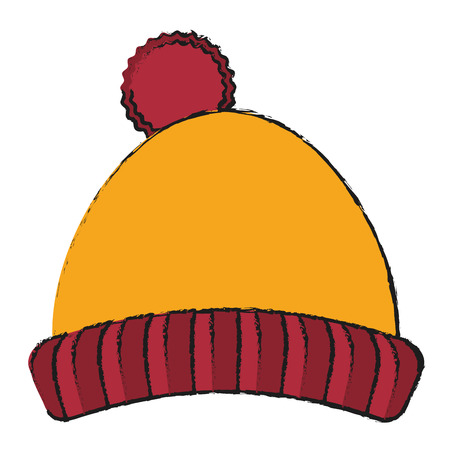 warm cloth: Hat icon. Winter cloth warm fashion and cold theme. Isolated design. Vector illustration