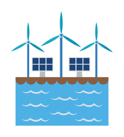wind mill: Solar panel and wind mill icon. Ecology renewable and conservation theme. Colorful design. Vector illustration