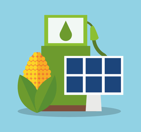 Bio fuel solar panel and corn icon. Ecology renewable and conservation theme. Colorful design. Vector illustration Illustration
