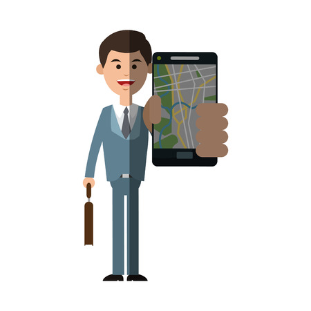 global positioning system: Man and smartphone with gps app icon. Travel navigation route and technology theme. Isolated design. Vector illustration