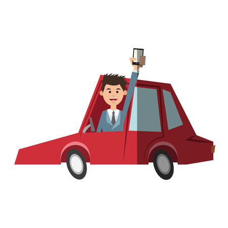 Man car and smartphone icon. Travel navigation route and technology theme. Isolated design. Vector illustration Illustration