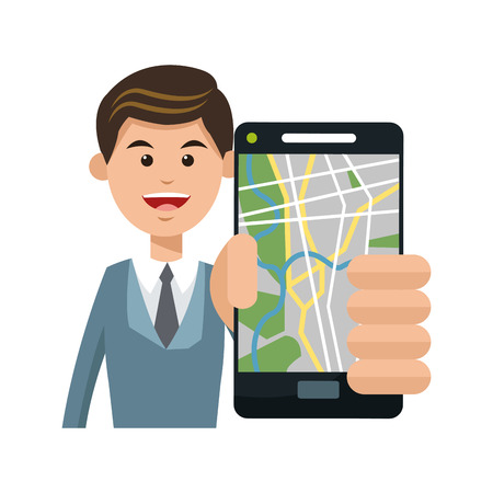 Man and smartphone with gps app icon. Travel navigation route and technology theme. Isolated design. Vector illustration