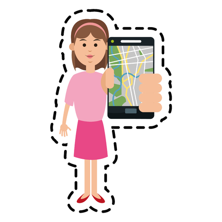 Woman and smartphone with gps app icon. Travel navigation route and technology theme. Isolated design. Vector illustration