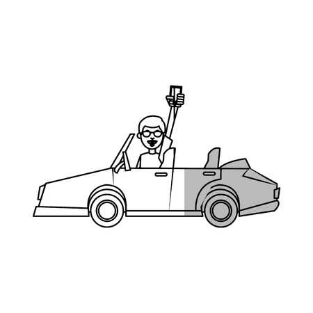 global positioning system: Man car and smartphone icon. Travel navigation route and technology theme. Isolated design. Vector illustration Illustration
