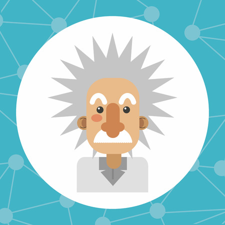Einstein icon. Science laboratory chemistry and research theme. Colorful design. Vector illustration Illustration